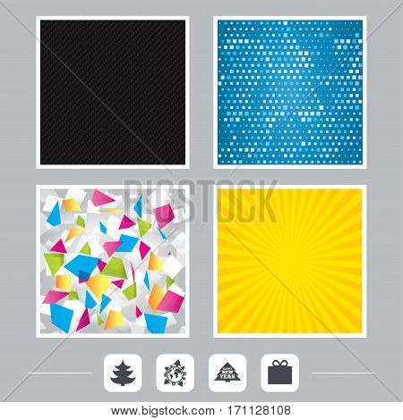 Carbon fiber texture. Yellow flare and abstract backgrounds. Happy new year icon. Christmas trees and gift box signs. World globe symbol. Flat design web icons. Vector