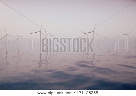 Wind farm turbines caught in sunset sky. Beautiful contrast with the blue sea. ecological concept, 3d rendering