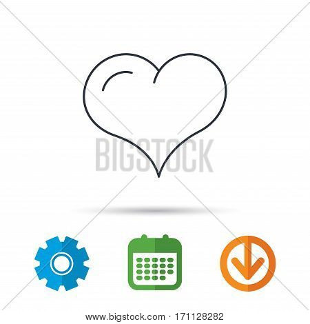Love heart icon. Life sign. Calendar, cogwheel and download arrow signs. Colored flat web icons. Vector