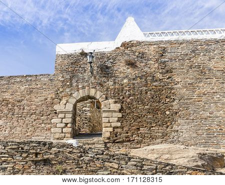 the wall and the entrance gate in Monsaraz town, Évora District, Portugal