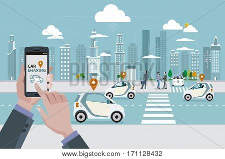 Man's hands with a smart phone with a car sharing app. Roads with car sharing cars and people walking on the street. In the background skyline skyscrapers.