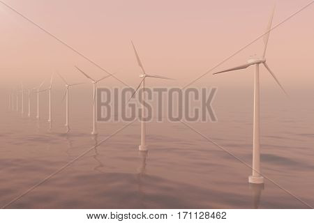 Sunset wind turbines in sea, ocean. Clean energy, wind energy, ecological concept, 3d rendering