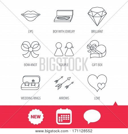 Love heart, gift box and wedding rings icons. Kiss lips and couple linear signs. Valentine amour arrows, brilliant flat line icons. New tag, speech bubble and calendar web icons. Vector