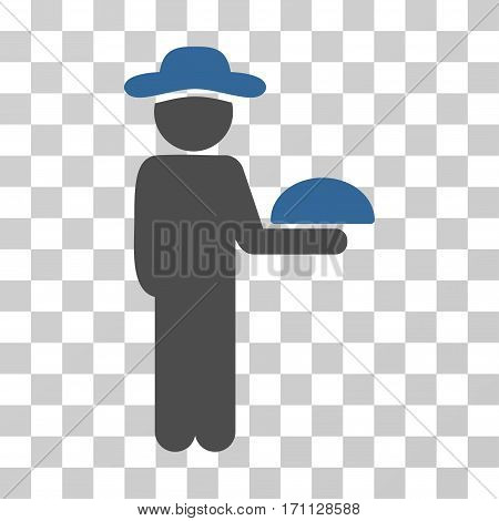 Gentleman Waiter icon. Vector illustration style is flat iconic bicolor symbol cobalt and gray colors transparent background. Designed for web and software interfaces.