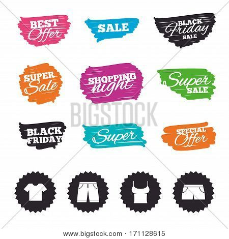 Ink brush sale banners and stripes. Clothes icons. T-shirt and bermuda shorts signs. Swimming trunks symbol. Special offer. Ink stroke. Vector