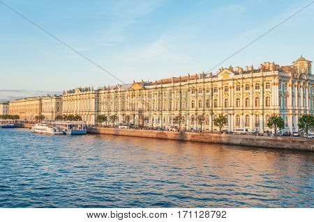 Hermitage complex and Winter Palace facade view from Neva river, St Petersburg