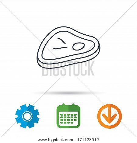 Meat icon. Beef steak sign. Barbecue meat slice symbol. Calendar, cogwheel and download arrow signs. Colored flat web icons. Vector