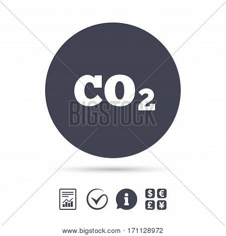 CO2 carbon dioxide formula sign icon. Chemistry symbol. Report document, information and check tick icons. Currency exchange. Vector