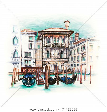 Palazzo in Venetian Gothic style on the Grand Canal in summer day, Venice, Italy. Picture made liner and markers