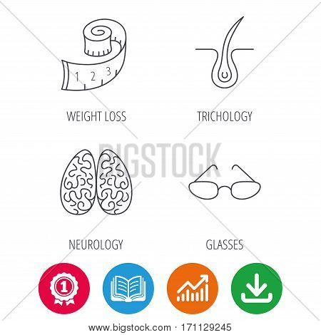 Glasses, neurology and trichology icons. Weight loss linear sign. Award medal, growth chart and opened book web icons. Download arrow. Vector