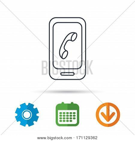 Smartphone icon. Cellphone with touchscreen sign. Calendar, cogwheel and download arrow signs. Colored flat web icons. Vector