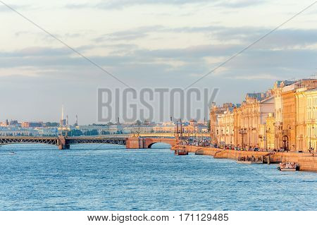 Palace embankment of Neva river and Trinity bridge in downtown Saint Petersburg