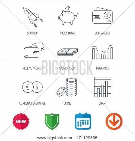 Piggy bank, cash money and startup rocket icons. Wallet, currency exchange and dollar usd linear signs. Chart, coins and dynamics icons. New tag, shield and calendar web icons. Download arrow. Vector