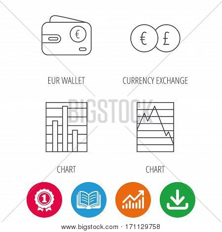 Currency exchange, chart and euro wallet icons. Statistics graph linear signs. Award medal, growth chart and opened book web icons. Download arrow. Vector