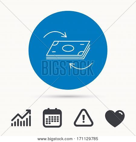 Money flow icon. Cash investment sign. Currency exchange symbol. Calendar, attention sign and growth chart. Button with web icon. Vector