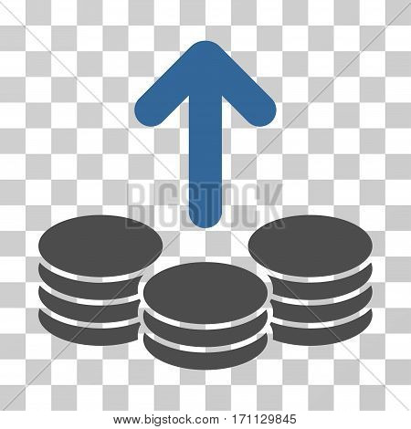 Payout Coins icon. Vector illustration style is flat iconic bicolor symbol cobalt and gray colors transparent background. Designed for web and software interfaces.