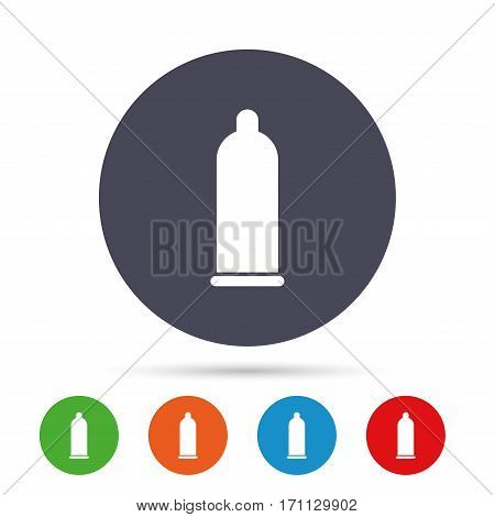 Condom safe sex sign icon. Safe love symbol. Round colourful buttons with flat icons. Vector