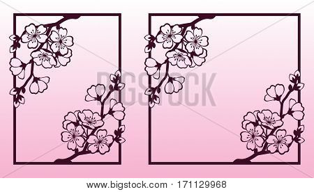 A branch of cherry or sakura blossoms. Laser cutting templates suitable for greeting cards invitations covers menus interior decorations.