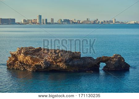 Coastline of La Manga or La Manga del Mar Menor is a seaside spit in the Region of Murcia Spain.