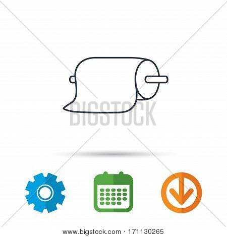 Paper towels icon. Kitchen hygiene sign. Calendar, cogwheel and download arrow signs. Colored flat web icons. Vector