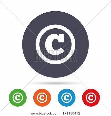 Copyright sign icon. Copyright button. Round colourful buttons with flat icons. Vector