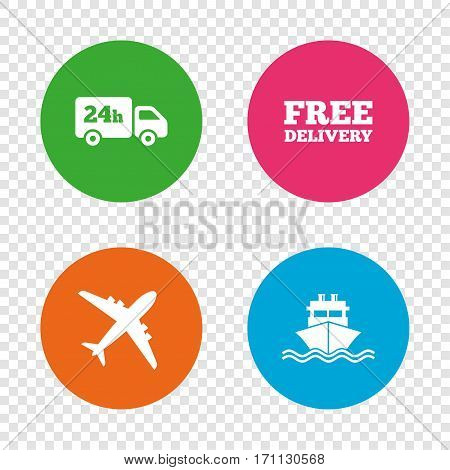 Cargo truck and shipping icons. Shipping and free delivery signs. Transport symbols. 24h service. Round buttons on transparent background. Vector