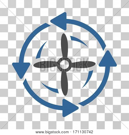 Screw Rotation icon. Vector illustration style is flat iconic bicolor symbol cobalt and gray colors transparent background. Designed for web and software interfaces.