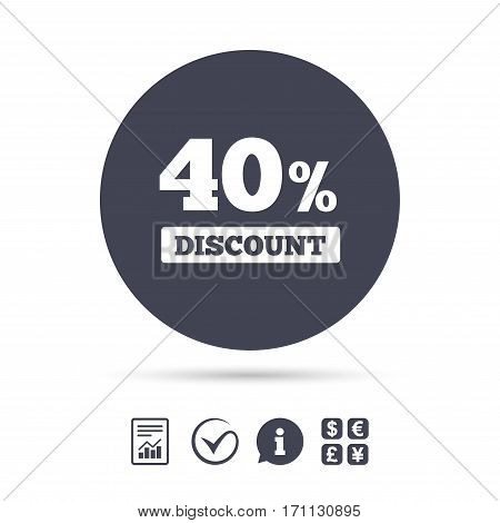 40 percent discount sign icon. Sale symbol. Special offer label. Report document, information and check tick icons. Currency exchange. Vector