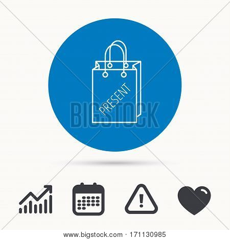 Present shopping bag icon. Gift handbag sign. Calendar, attention sign and growth chart. Button with web icon. Vector