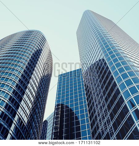 Skyscrapers with blue glass, high rise building, skyscrapers, business concept of successful industrial architecture, 3d rendering