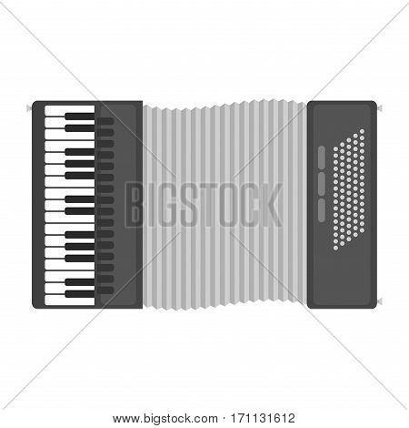 Piano keyboard accordion harmonica musical instrument vector illustration. Acoustic antique classical melody performance ivory accordian. Ecreational concertina revival culture.