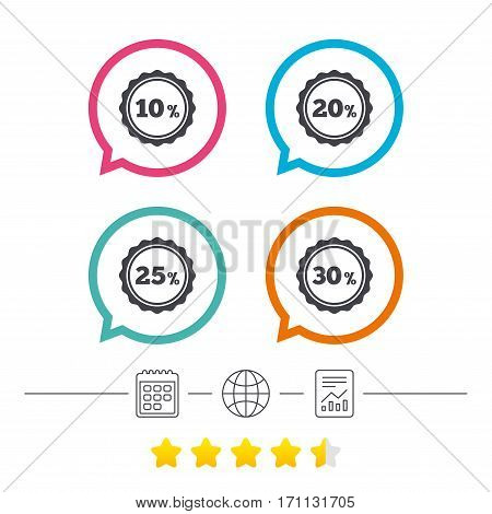 Sale discount icons. Special offer stamp price signs. 10, 20, 25 and 30 percent off reduction symbols. Calendar, internet globe and report linear icons. Star vote ranking. Vector