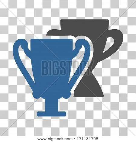 Trophy Cups icon. Vector illustration style is flat iconic bicolor symbol cobalt and gray colors transparent background. Designed for web and software interfaces.
