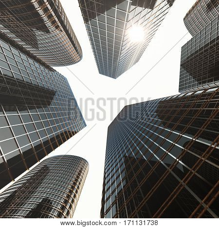 Bottom view of modern skyscrapers in business district in evening light at sunset. Industrial architecture, business construction and estate financial concept, 3d rendering