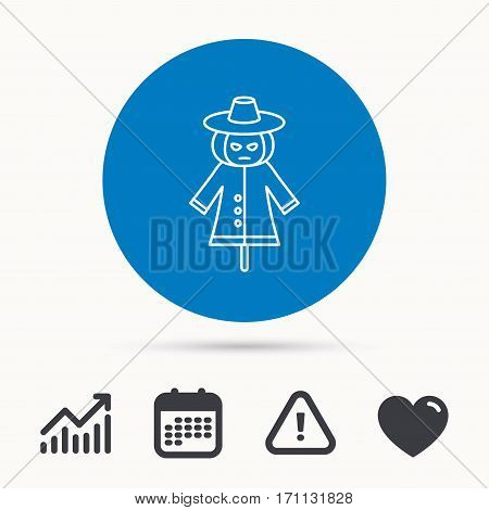 Scarecrow icon. Human silhouette with pumpkin head sign symbol. Calendar, attention sign and growth chart. Button with web icon. Vector