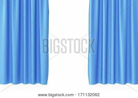 Luxury scarlet blue silk velvet curtains realistic, 3d rendering