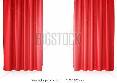 Red velvet stage curtains, scarlet theatre drapery. Silk classical curtains, red theater curtain, 3d rendering