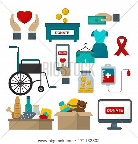 Donate help symbols charity organization heart flat icons. Set of food and clothes donation abstract isolated vector illustration. Humanitarian holding money.