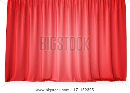 Luxury scarlet red silk velvet curtains realistic, 3d rendering