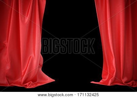 Red silk curtains for theater and cinema spotlit light in the center, 3d rendering