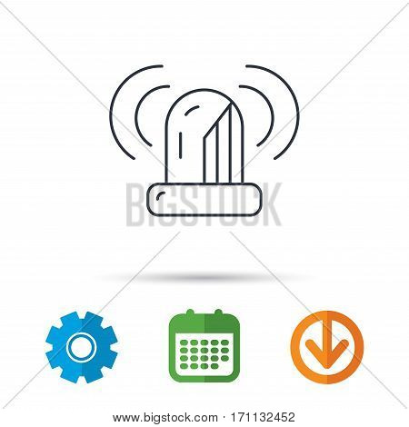 Siren alarm icon. Alert flashing light sign. Calendar, cogwheel and download arrow signs. Colored flat web icons. Vector