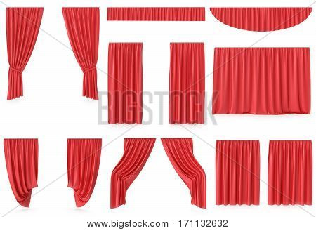 Luxury red silk velvet curtains decoration design, ideas, set collection isolated on white background, 3d rendering