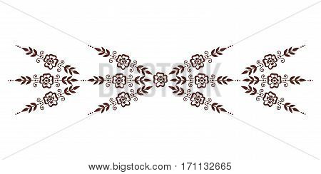 Henna tattoo mehndi flower template vector. Doodle ornamental lace decorative element. Indian design pattern paisley arabesque mhendi embellishment.