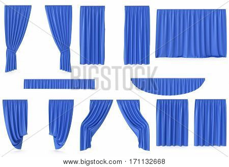Luxury blue silk velvet curtains decoration design, ideas, set collection isolated on white background, 3d rendering
