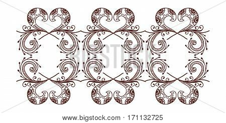 Henna tattoo mehndi flower template vector. Doodle ornamental lace decorative element. Indian design pattern paisley arabesque mhendi embellishment.