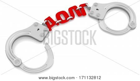 Debt. Steel handcuffs with red word