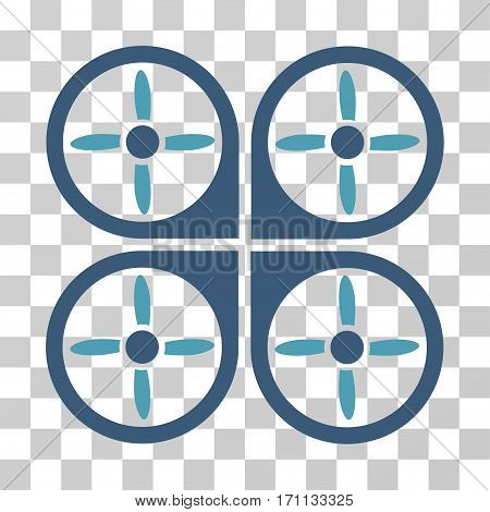 Copter icon. Vector illustration style is flat iconic bicolor symbol cyan and blue colors transparent background. Designed for web and software interfaces.