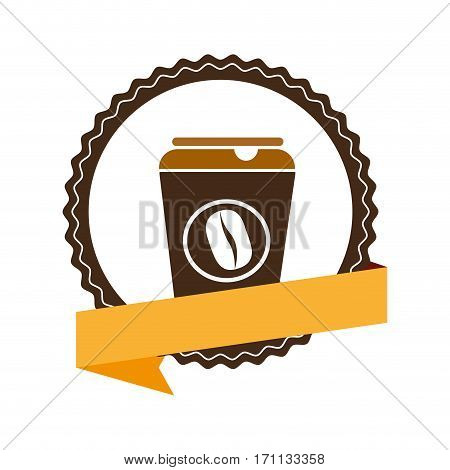 insignia with label and glass disposable for hot drinks with lid vector illustration