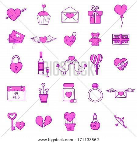 Wedding outline icons vector illustration. Married celebration music groom invitation elements. Wedding ceremony collection.