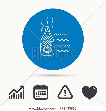 Steam ironing icon. Iron housework tool sign. Calendar, attention sign and growth chart. Button with web icon. Vector